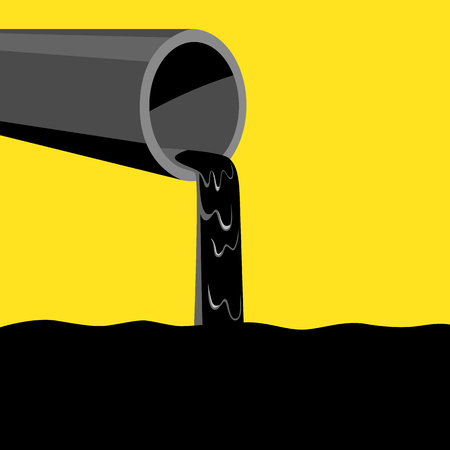 thick: Pipe pouring out black thick liquid, concept for industrial waste and water pollution Illustration