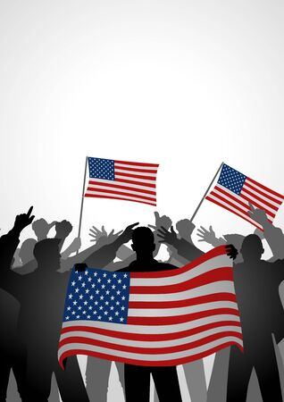 reformation: Silhouette of crowd of people cheering while holding the flag of America Illustration