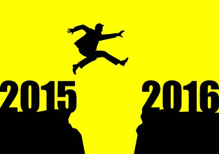 dangerous man: Silhouette illustration of a man jumps from 2015 to 2016