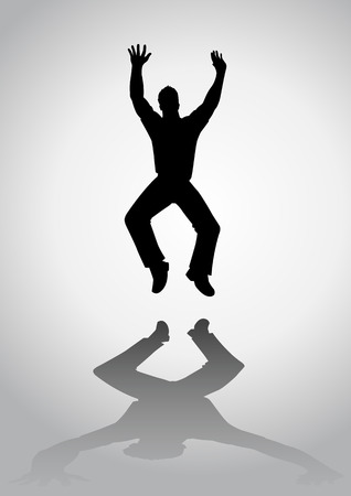 male figure: Silhouette of a man figure jumping