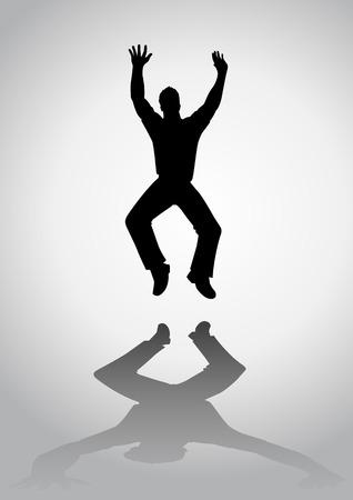 euphoria: Silhouette of a man figure jumping