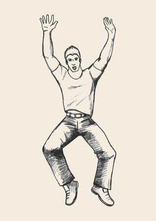 hooray: Sketch illustration of a man figure jumping Illustration