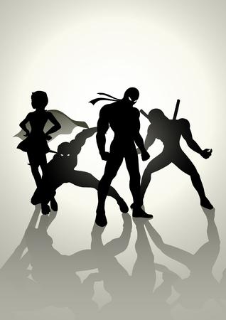 acion: Ilustración de la silueta de los superhéroes en diversa actitud Vectores