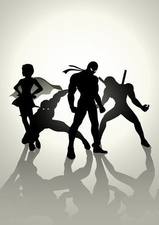 super human: Silhouette illustration of superheroes in different pose