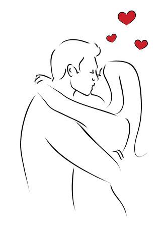 besos apasionados: Línea arte de la ilustración besos amante. Pares que se besan, San Valentín, el romance tema
