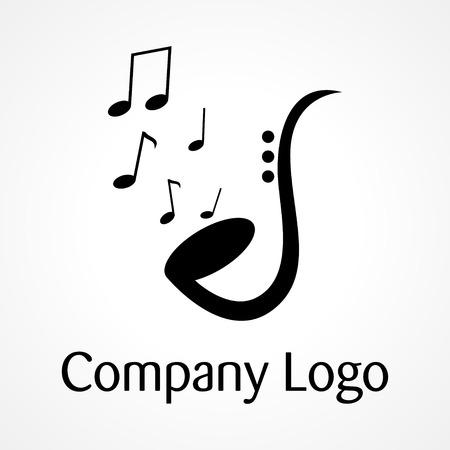 Saxofón con notaciones musicales, de la música, el jazz, el logotipo Logos