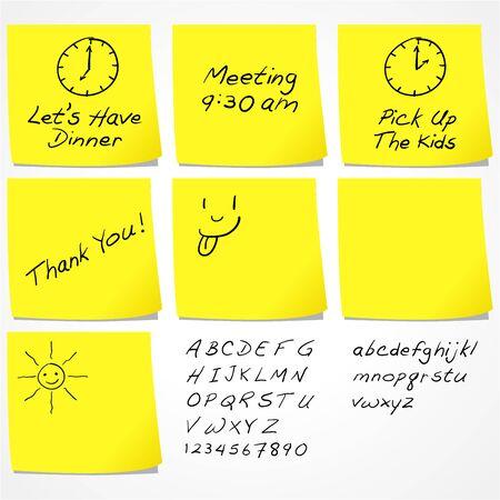 comunicaci�n escrita: Mensajes En Notas Adhesivas Vectores