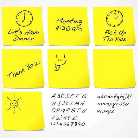 sticky paper: Messages On Sticky Notes Illustration