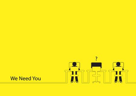 Línea arte de la ilustración de dos personas que trabajan en los ordenadores con un solo escritorio vacío. oferta de empleo, nuevas contrataciones, aprendiz, la ocupación, la búsqueda de empleo tema Ilustración de vector