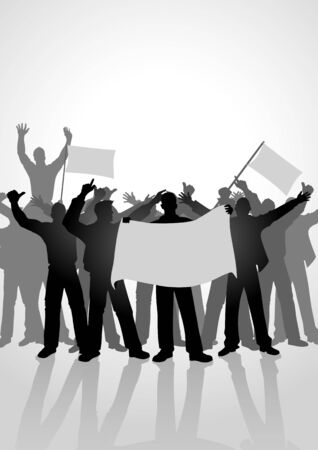 rebellion: Silhouette of crowd of people cheering while holding flags. Sport fans, demonstration, celebration theme
