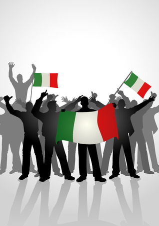 Silhouette of crowd of people cheering while holding the flag of Italy