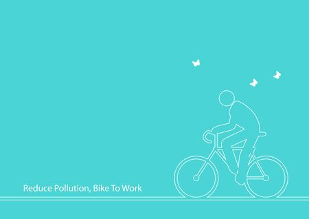 bicycling: Line art illustration of iconic figure riding bicycle Illustration