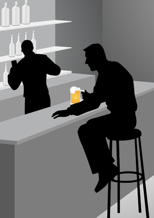 lonely person: Silhouette illustration of a man at the bar. People, loneliness, alcohol and lifestyle concept