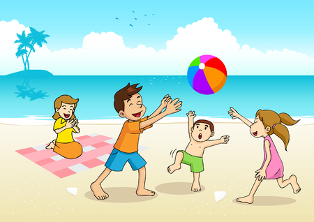 family playing: Cartoon illustration of a family having a picnic at the beach Illustration