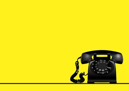 Gele achtergrond met roterende vintage telefoon