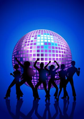 Silhouette Illustration der Paare Disco-Tanz Standard-Bild - 50011079