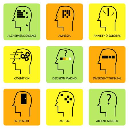 icono de la línea de arte de la mente humana, el proceso de pensamiento, característica, las enfermedades y las condiciones psicológicas
