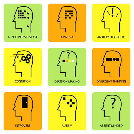 characteristic: Line art icon of human mind, thinking process, characteristic, disease and psychological terms Illustration