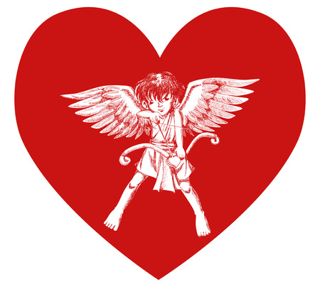 valentine cherub: Sketch illustration of a cupid on heart symbol