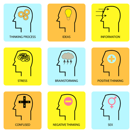 mind set: Line art icons of human mind, thinking process and thought. Pictogram collection and simple vector set