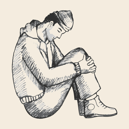 homme triste: illustration Croquis d'un homme assis sur le sol. La solitude, la dépression, a souligné, le thème des sans-abri, la frustration Illustration