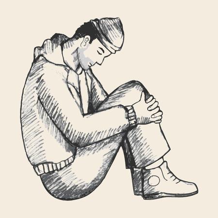 Schets illustratie van een man zittend op de grond. Eenzaamheid, depressie, daklozen, benadrukt, frustratie thema