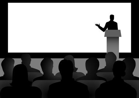Ilustración de la silueta de la figura del hombre, dando un discurso en el escenario con gran pantalla en blanco como el fondo Ilustración de vector
