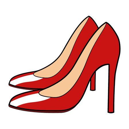 lady in red: Cartoon illustration of red stiletto