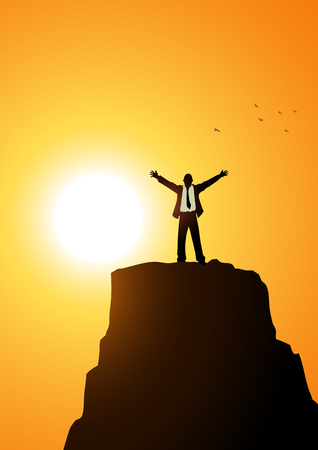 conquer: Silhouette of a businessman standing with open arms on top of a mountain. Success, determination, freedom concept