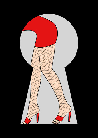 woman legs: Simple cartoon of a woman legs with fishnet stocking seen through from a keyhole Illustration