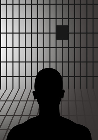 Silhouette illustration of a man in jail Illustration
