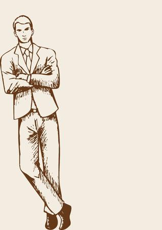 modelos posando: Bosquejo de un hombre de negocios apoyado en la esquina de la página con brazo cruzado