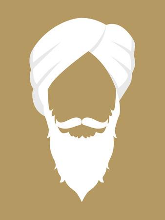 símbolo de la cara de un anciano con barba y bigote con un turbante Ilustración de vector