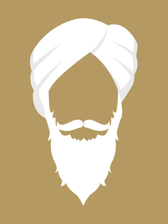 Face symbol of an old man with beard and mustache wearing a turban