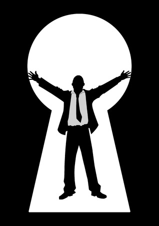key hole: Silhouette illustration of a businessman with open arms seen through from a key hole