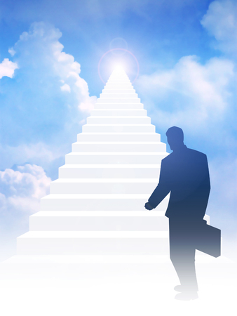 beautiful heaven: Silhouette of a man with suitcase step on to stairway leading up to bright light above the sky. Success, motivation, determination concept