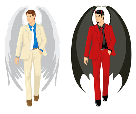 contradiction: Cartoon of an angel and a devil wearing suit Illustration