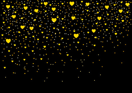 Small hearts on black background