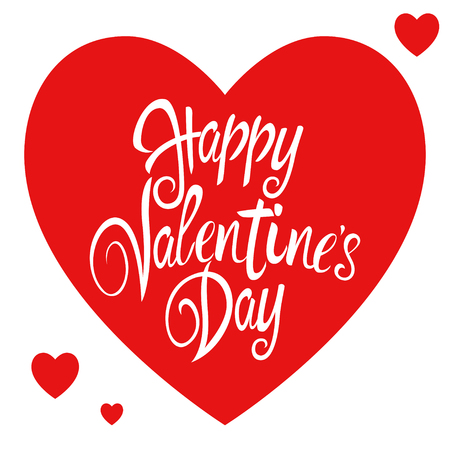 happy valentines day: Text of Happy Valentines Day with decorative heart symbols for Valentines day theme and background