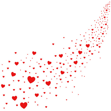 Abstract illustration of hearts falling from sky, love is in the air