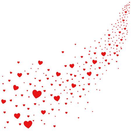 Resumen de la ilustración de los corazones que caen del cielo, el amor está en el aire Ilustración de vector