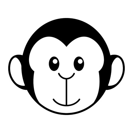 kiddies: Simple cartoon of a cute monkey Illustration