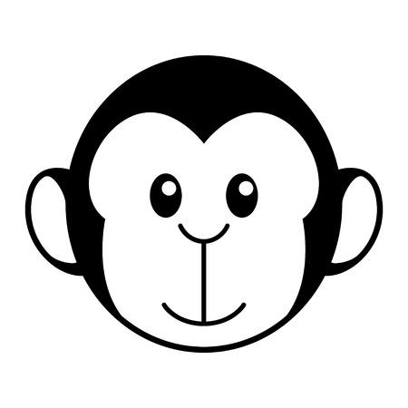 kiddish: Simple cartoon of a cute monkey Illustration