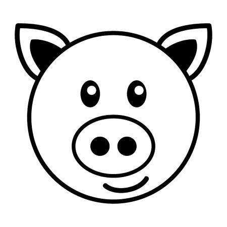 kiddies: Simple cartoon of a cute pig Illustration
