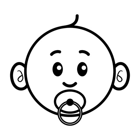 Simple cartoon of cute baby face with pacifier in his or her mouth