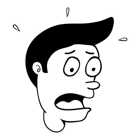 mimic: Simple cartoon of a man with surprised or scared face