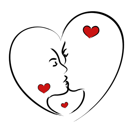 wedding couple: Line art illustration of a man and woman kissing in heart shape symbol