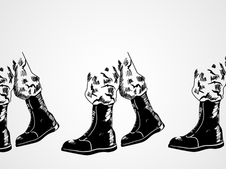 Sketch illustration of army boots lined up, marching. Invasion, war concept