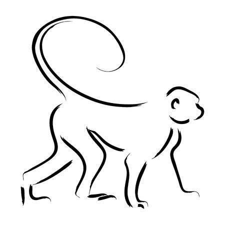 chinese brush: Line art illustration of a monkey Illustration