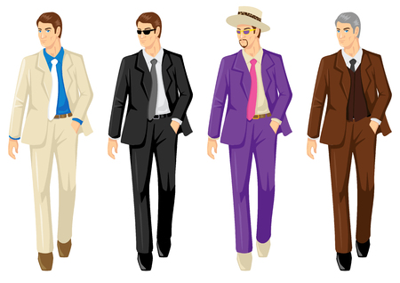 secret service: Set of men in different suit isolated on white Illustration